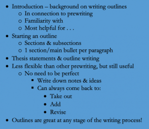 Example of an outline in bullet points