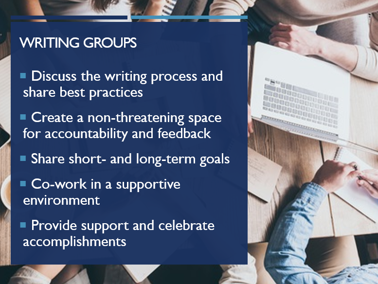 PowerPoint slide highlighting the benefits of writing groups