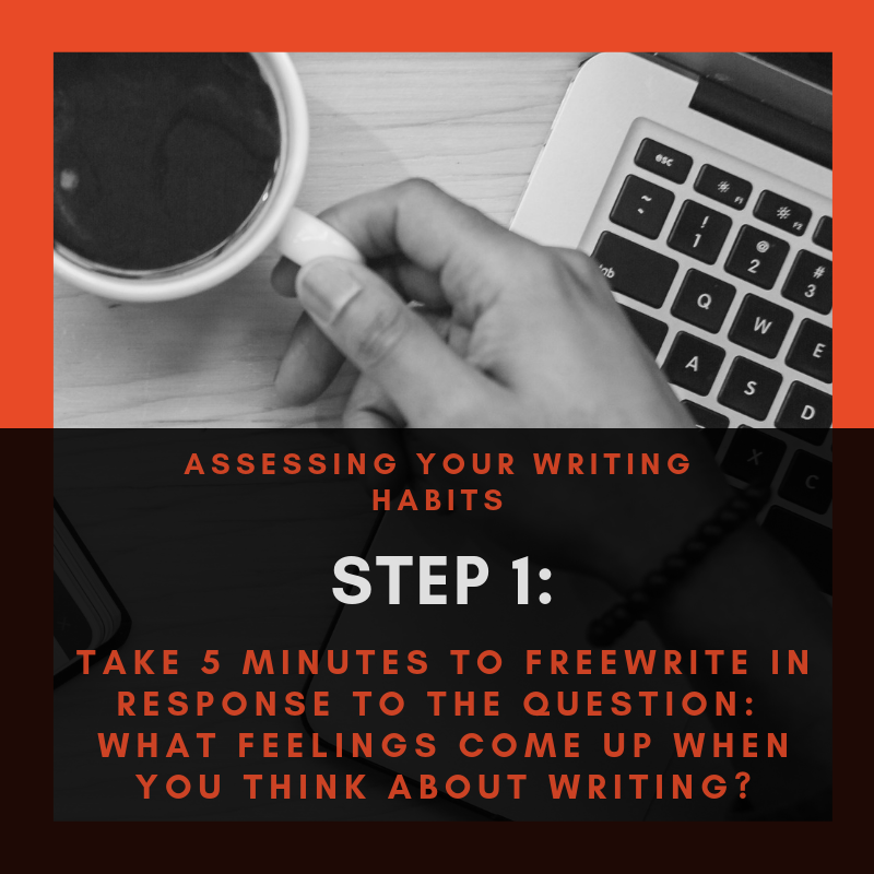 Step 1 Graphic: Take 5 minutes to freewrite in response to the question: What feelings come up when you think about writing?